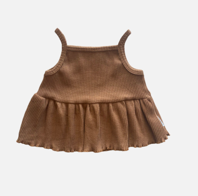 Ribbed Peplum Singlet - Golden