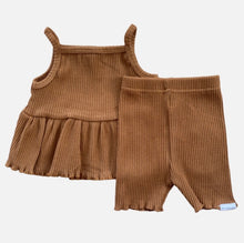 Load image into Gallery viewer, Ribbed Peplum Singlet Set - Golden