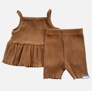 Ribbed Peplum Singlet Set - Golden