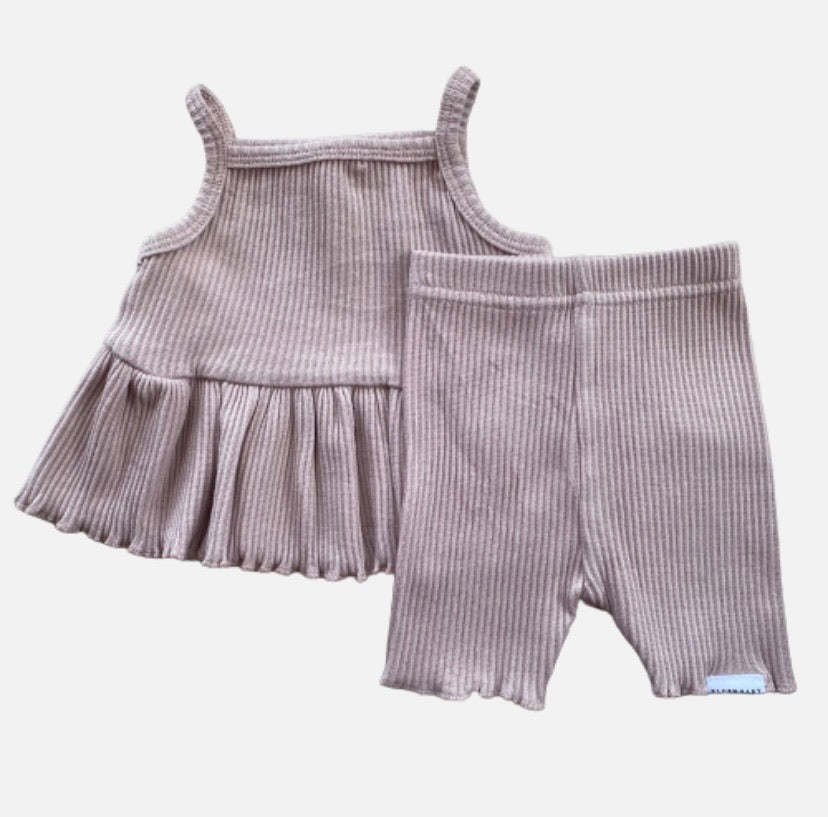 Ribbed Peplum Singlet Set - Dusty Pink