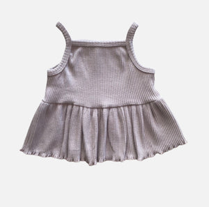 Ribbed Peplum Singlet - Dusty Pink