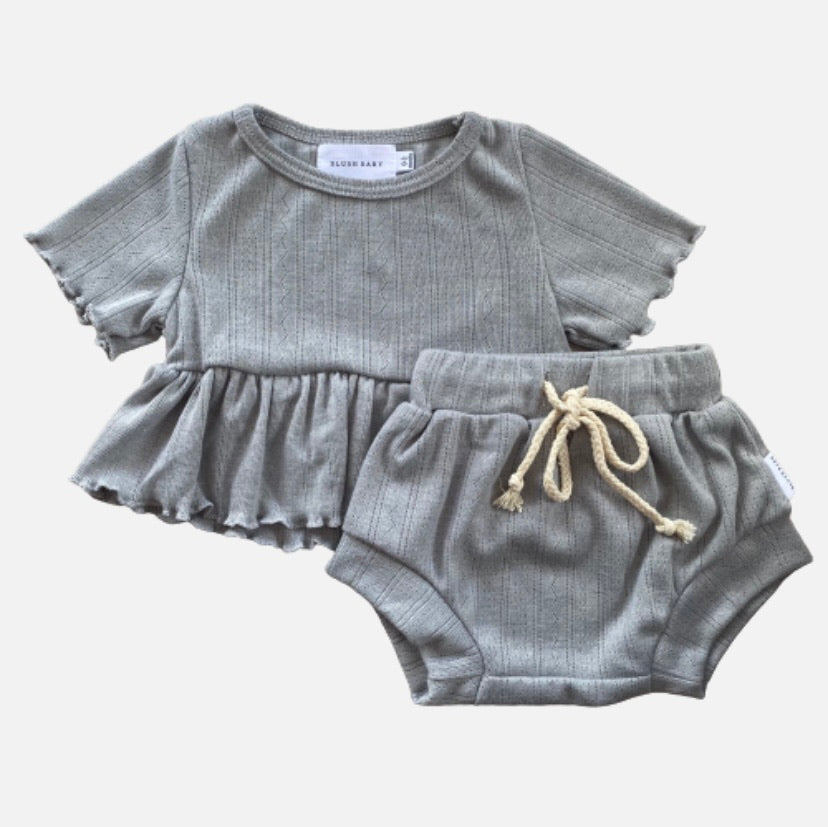 S/S Pointelle Peplum Set - Misty Grey