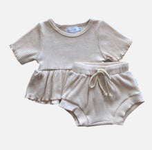 Load image into Gallery viewer, S/S Ribbed Peplum Set - Sand