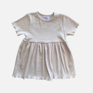 S/S Ribbed Dress - Sand