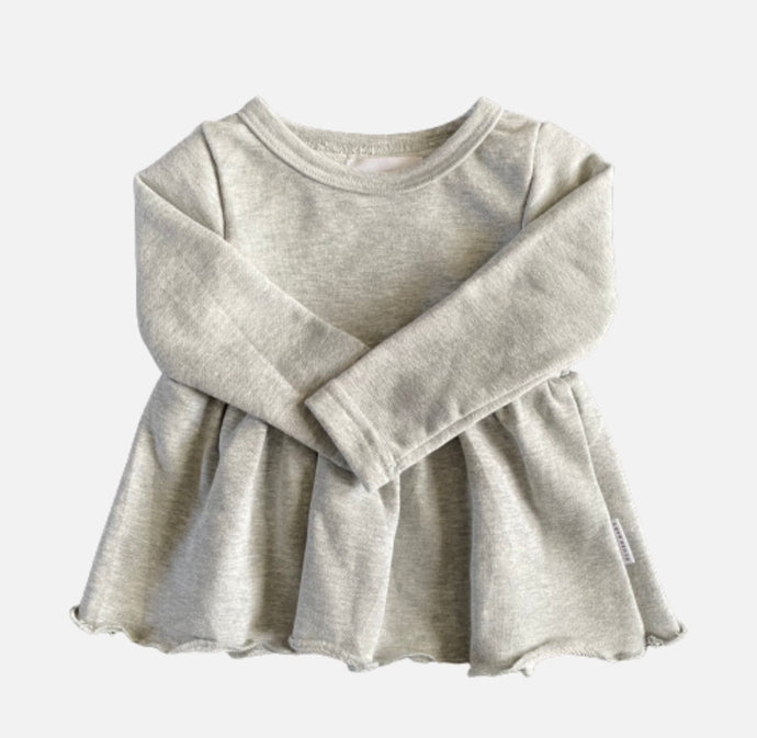 Sweatshirt Peplum Top - Grey