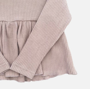 L/S Ribbed Peplum Top - Dusty Pink