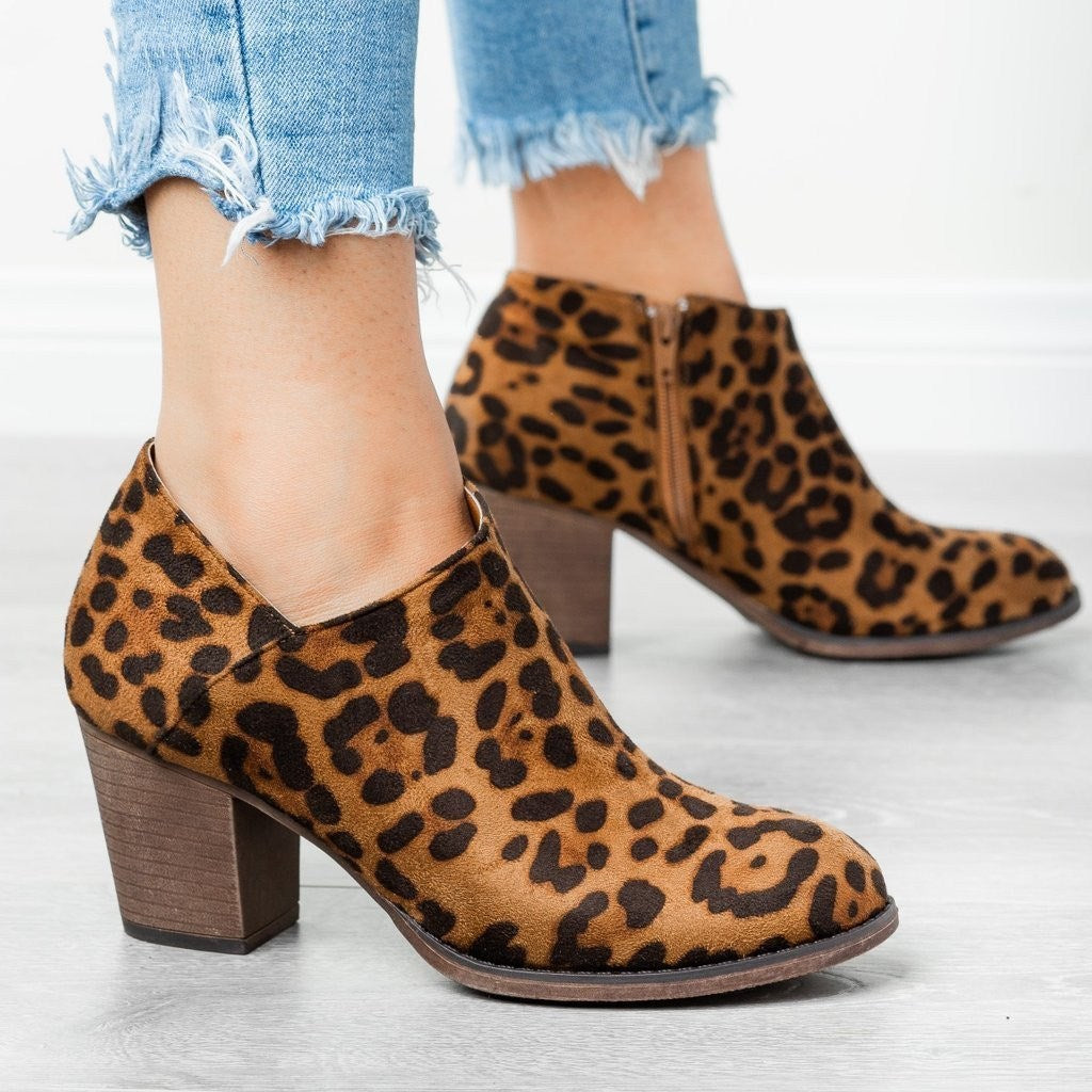 leopard print chunky boots