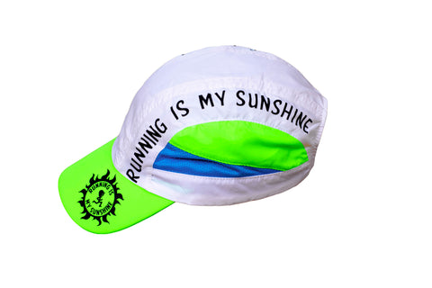 Running Is My Sunshine - White Green Blue Running Hat Cap