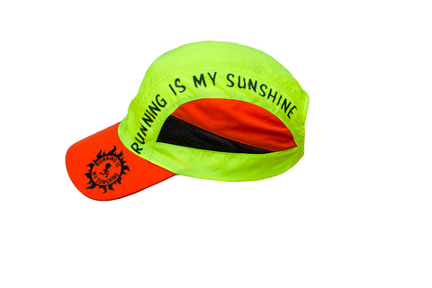 Running Is My Sunshine - Yellow Orange Black Running Hat Cap