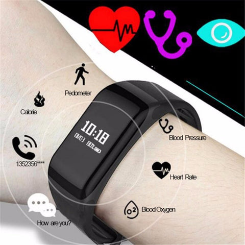 Men's Waterproof Oximeter Blood Pressure Monitor Heart Rate Fitness Tracker Watch