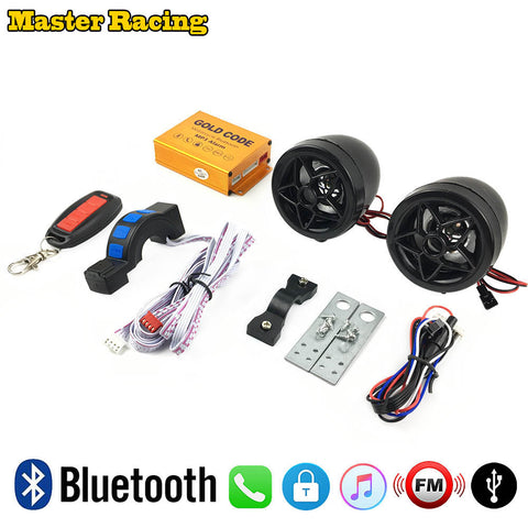 12v Motorcycle Anti-theft Security Alarm USB Charger Bluetooth Audio Sound System