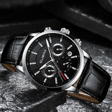 Men's Watches Stopwatch Date Luminous Hands Genuine Leather 30M Waterproof