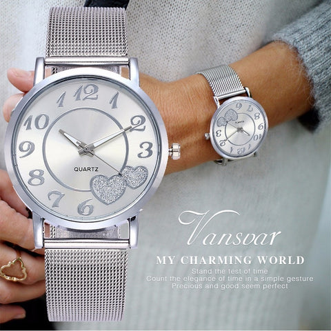 Women Silver & Gold Mesh Love Heart Dial Wristwatches