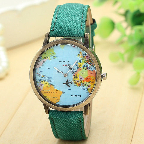 World Map Airplane Travel The World Women Leather Wrist Watch