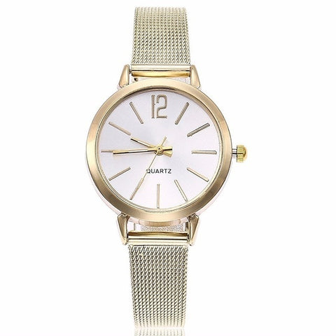 Women Stainless Steel Silver Gold Mesh Watch