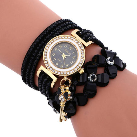 Woman Watches Chimes Diamond Leather Bracelet