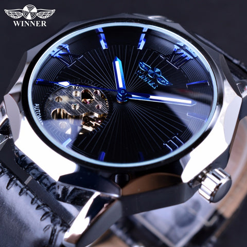 Winner Blue Ocean Geometry Design Transparent Skeleton Mens Watch