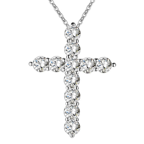 Silver Plated Necklace Cross Crystal Zircon Stone Pendant Necklace