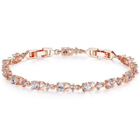 Luxury Rose Gold Color Chain Cubic Zirconia Crystal Link Bracelet for Women