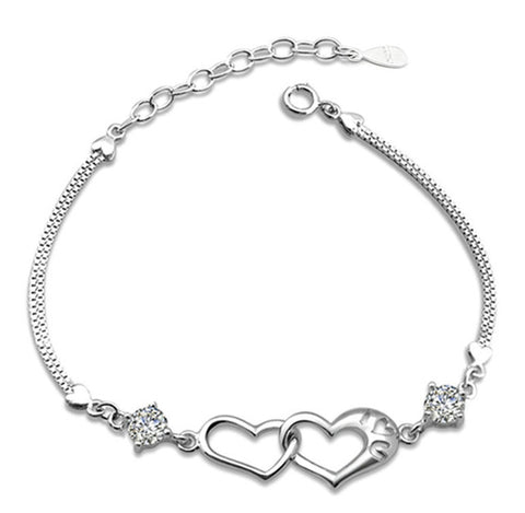 Crystal Lover Double Hearts Bracelet Girls