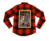 Hidden Forest Button Up Flannel Shirt- Red/Black