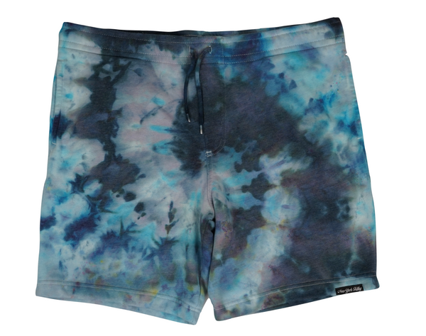 Tie Dye Sweatshorts- Sky Blue/ Black