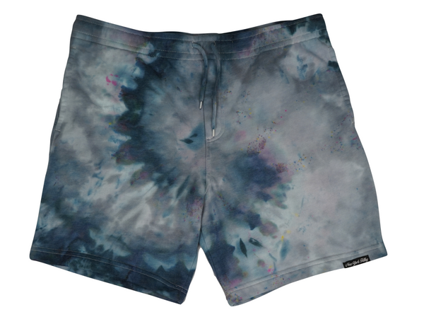Tie Dye Sweatshorts- Grey/ Black