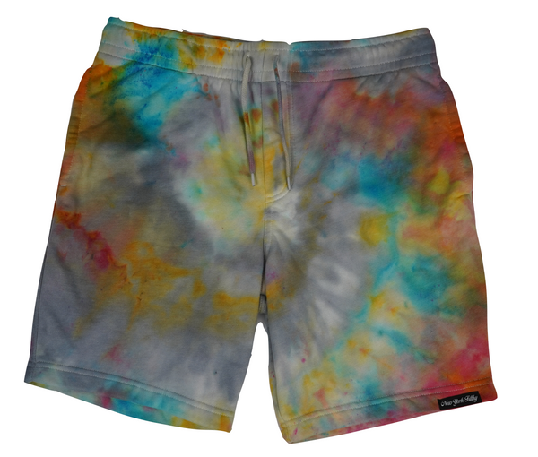 Tie Dye Sweatshorts- Orange/ Sky Blue/ Grey