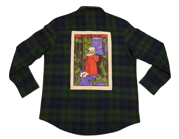 Prayer Button Up Flannel Shirt- Forest Green/Navy