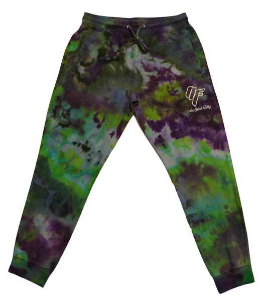 Tie Dye Sweatpants- Green/Purple