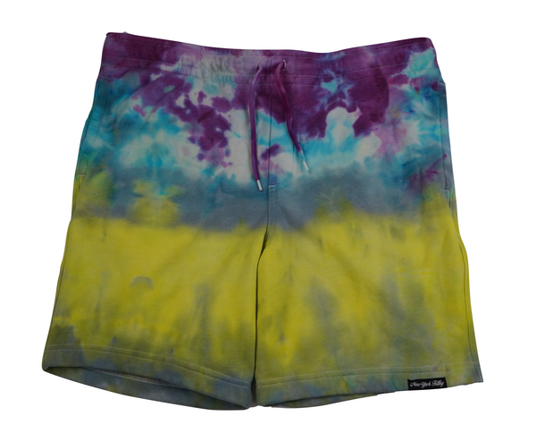 Tie Dye Sweatshorts- Yellow/Grey/ Teal/ Purple