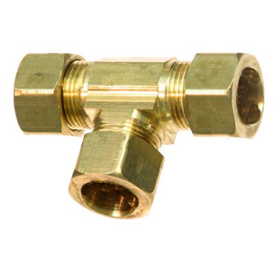 "Auveco No. 187 Brass Union Tee 1/4"" Tube Size, Quantity - 5"