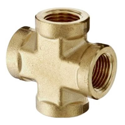 "Auveco No. 353 Brass Cross 1/8"" Pipe Thread, Quantity - 5"