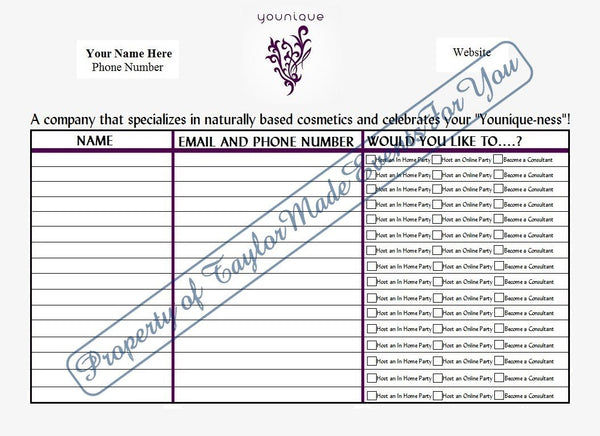 Younique Sign In Sheet Taylor Made Events For You