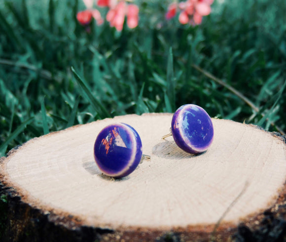 Purple Stud Earrings - Shiny Studs - Round Earrings