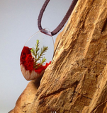 Red tear - Wooden Necklace