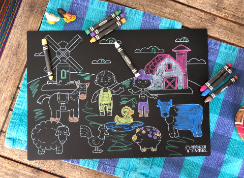 Farm Animals Chalkboard Coloring Mat