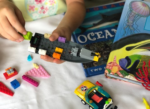 kids build ocean submersibles with Lego bricks