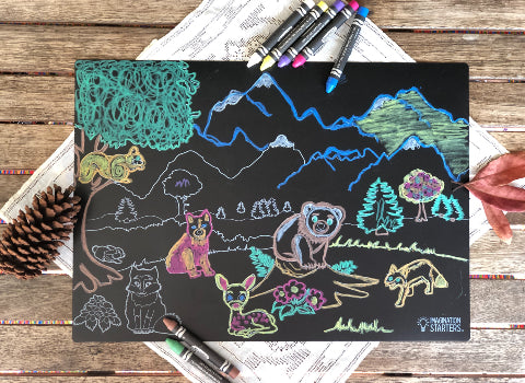 Forest Friends Chalkboard Coloring Mat
