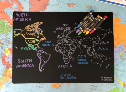 Continents Chalkboard Placemat