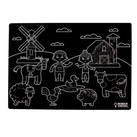 "Reversible Farm and Blank Chalkboard Placemat 12""x 17"""