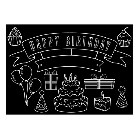"Reversible Happy Birthday and Blank Chalkboard Placemat 12""x17"""