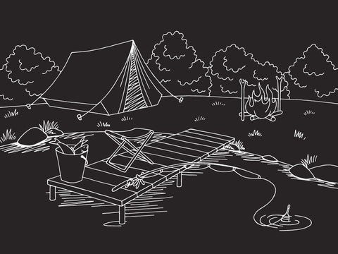 "NEW Chalkboard Camping Placemat 12""x17"""
