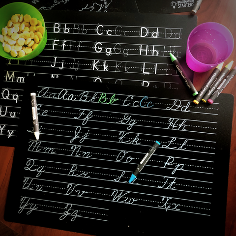 "Reversible Cursive Practice and Blank Chalkboard Placemat 12""x17"""