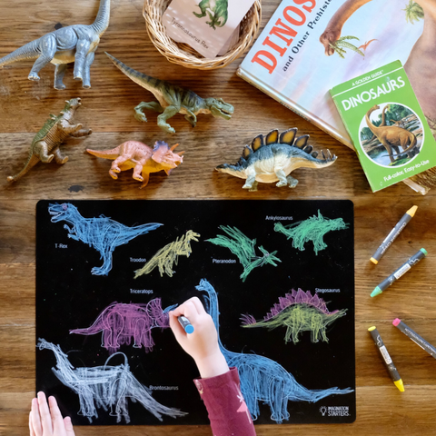 "Reversible Dinosaur and Blank Chalkboard Placemat 12""x17"""