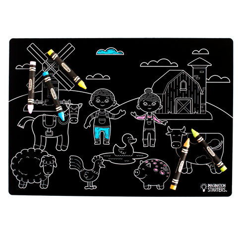 "Reversible Farm and Blank Chalkboard Placemat 12""x17"""