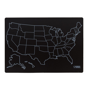 """Reversible US Map and Blank Chalkboard Placemat 12""""X17"""""""