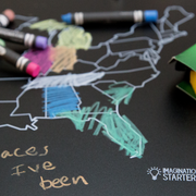 "Reversible US Map and Blank Chalkboard Placemat 12""X17"""