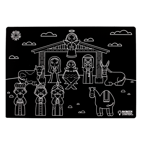 "Reversible Nativity and Blank Chalkboard Placemat 12""x17"""