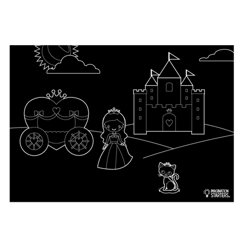 "Reversible Princess and Blank Chalkboard Placemat 12""x17"""
